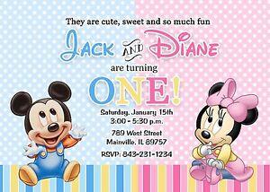 First Birthday Mickey Minnie Twins Baby Birthday Party