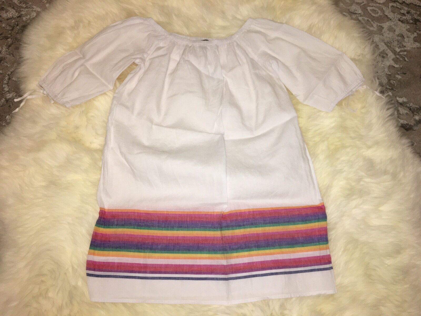 NWT J Crew White Off-the-shoulder Beach Beach Beach Dress with Rainbow Stripes Sz M G6010 f9db30