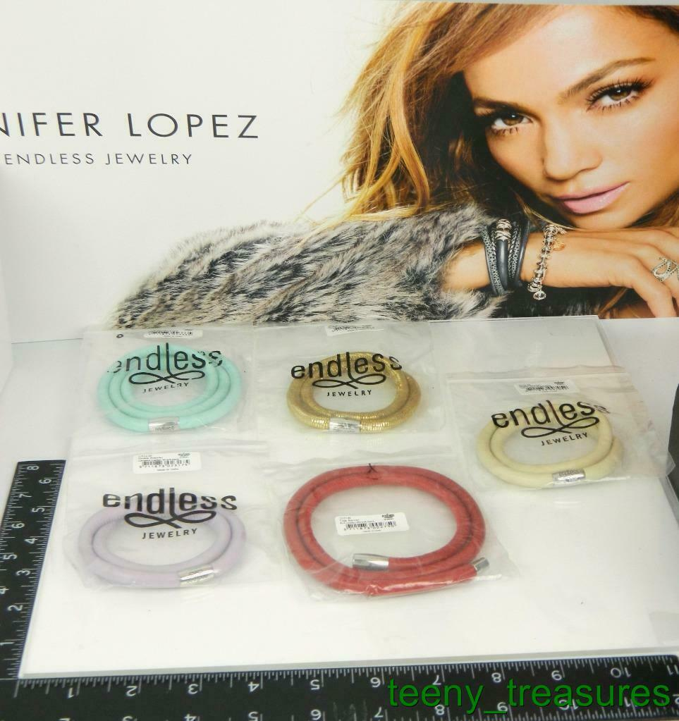 Lot of 5 Jennifer Lopez ENDLESS Multi color Leather Wrap Charm Bracelets -8