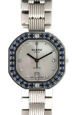 Clerc Stainless Steel Mother Of Pearl Face Diamond Accent Sapphire Wrist Watch