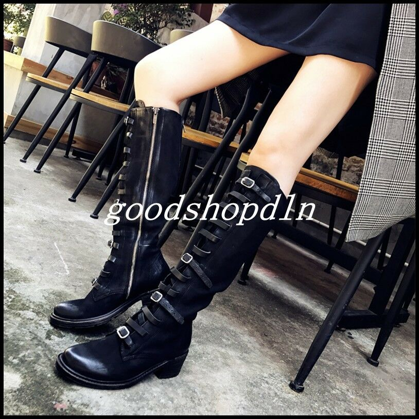 Retro Women's Genuine Genuine Genuine Leather Knee High Long Boots Buckle Belt Motorcycle shoes 26ce39