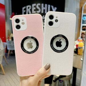 Luxury Leather Metal Ring Clear Acrylic Case For iPhone 11 12 Pro Max 7 8 Plus