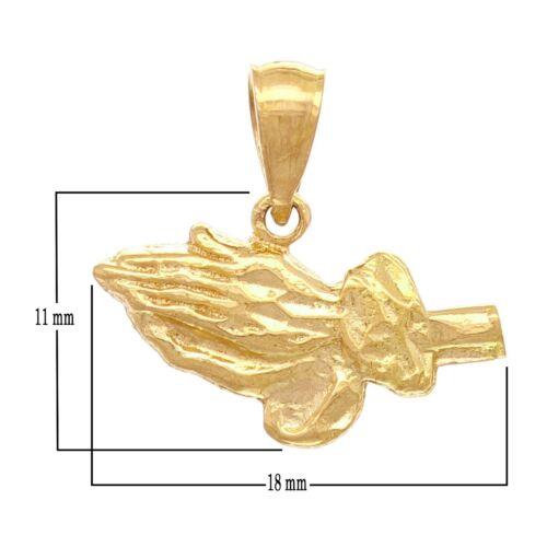 14k Yellow Gold Diamond Cut Praying Hands Charm Pendant 1.6grams