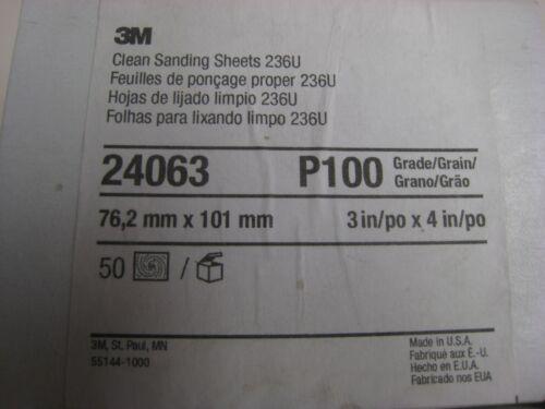"50  3M 236U Hookit 3/"" x 4/"" Abrasive Sanding PAPER SHEETS P100 Grit  # 24063"