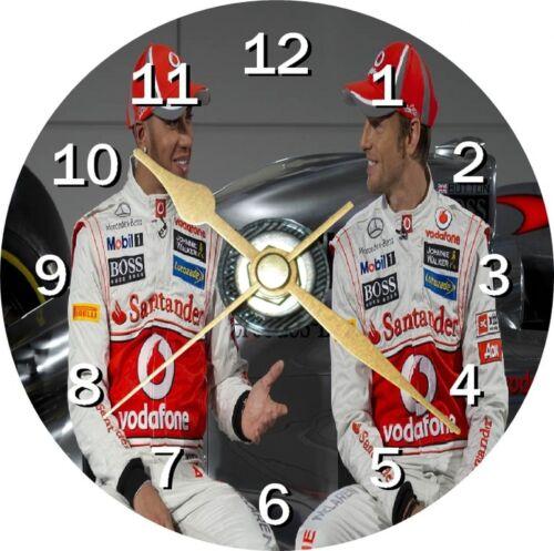 Lewis Hamilton et Jenson Button F1 Nouveauté cd horloge peut être personnalisé
