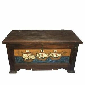 Antique-Cedar-Storage-Chest-from-Morocco-Hand-Carved-amp-Painted-Ships-Handmade