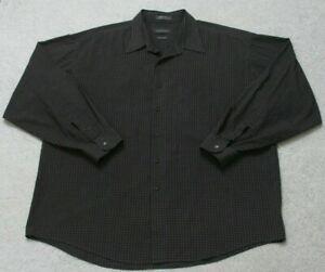 Van-Heusen-Dress-Shirt-Long-Sleeve-Mans-Button-Up-Striped-Men-039-s-Gray-XL-17-17-5
