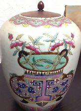 SALE! Antique Chinese Family Rose Porcelain Pot with Wood Lid