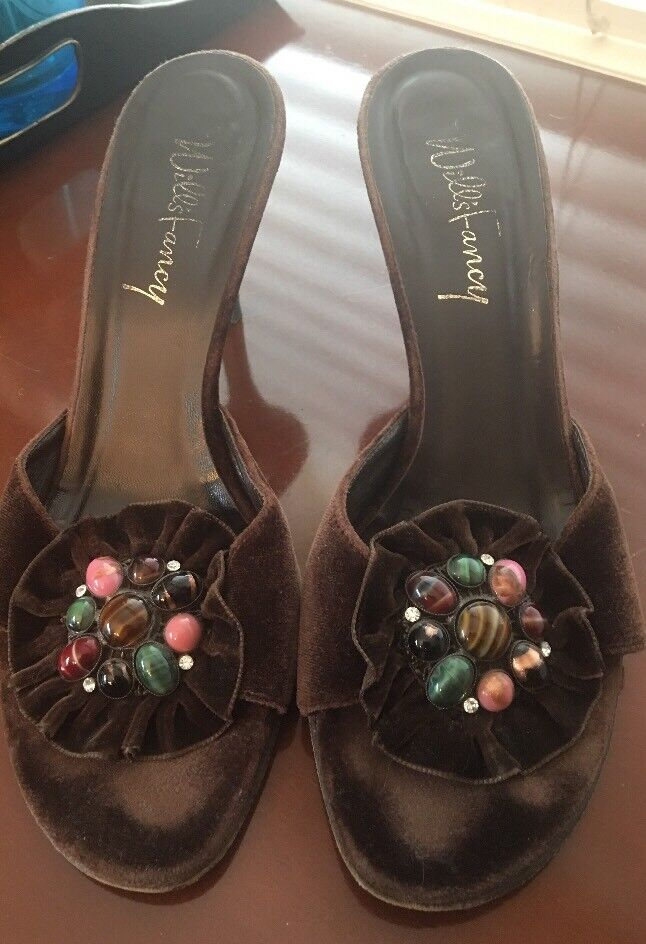 WILLS FANCY VELVET HIGH HEEL SLIP ON SANDALS WITH GEMSTONES GUC SZ 9 M