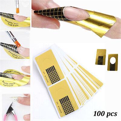 100Pcs Golden Nail Art Tips Extension Stickers DIY Tool Acrylic UV Gel Fashion