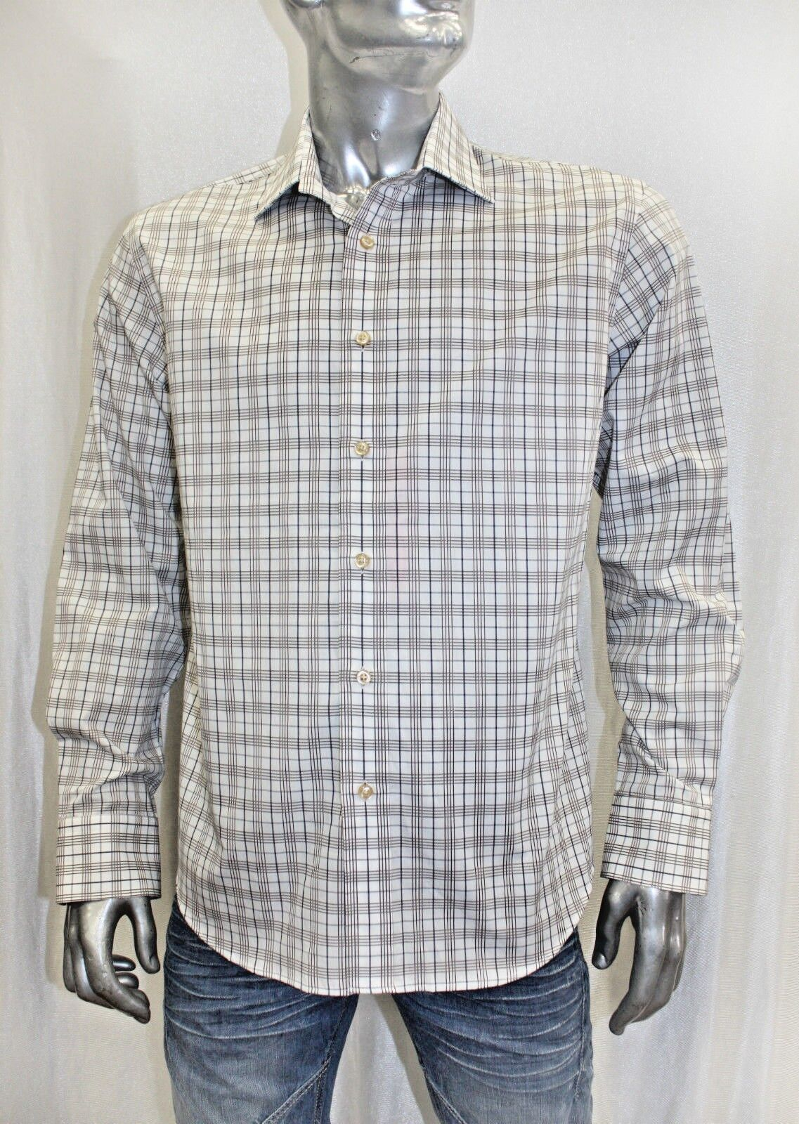 Men's Rufus Plaid White   Brown   Navy Long Sleeve Button Down Shirt