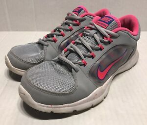 c1e9bac92de Nike Flex Trainer 4 Running Shoes Grey Hyper Pink 643083-006 Womens ...