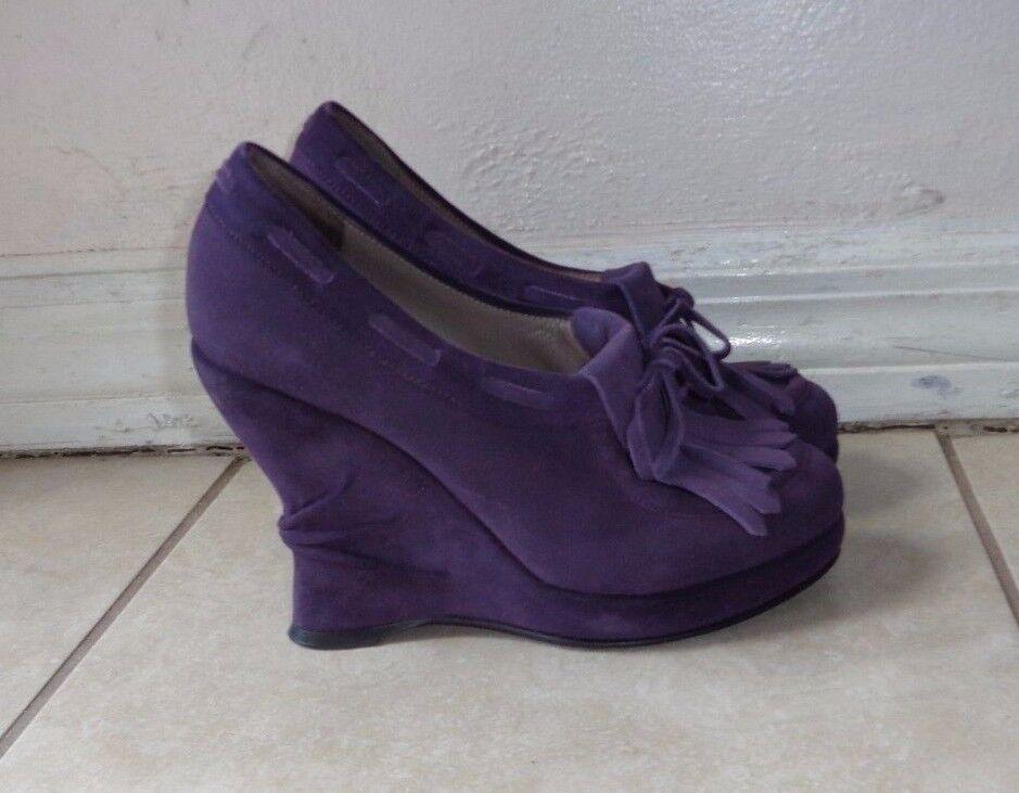 BOTTEGA VENETA purple suede Wedges Pumps shoes Sz 37.5M MADE IN ITALY