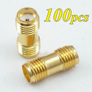100-RF-SMA-female-to-SMA-female-Jack-Straight-RF-Connector-Adapter-Plug-SMA-Lot