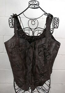 ASHLEY-STEWART-Brown-Genuine-Leather-Lace-Up-Whipstitch-Corset-Style-Tank-Top-2X