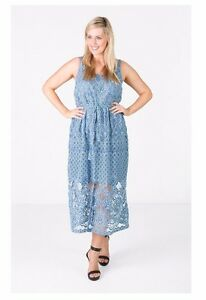 2ca24d3b Image is loading LOVE-YOUR-WARDROBE-Chambray-Blue-2Tone-Lace-Maxi-