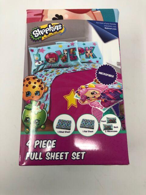 Shopkins Full Size Bed Sheet Set Kids Girls Bedroom ...