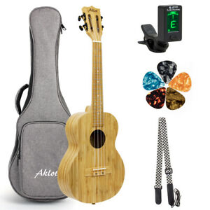Aklot Concert Ukulele Bamboo Ukelele 23 Inch 18 1 With Gig Bag Strap Picks Tuner Ebay