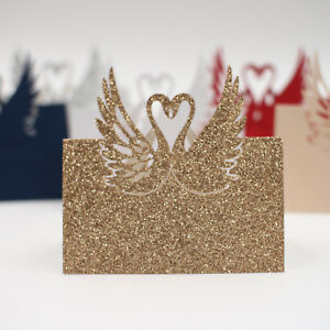 Details About 25pcs Glitter Swan Gold Silver Wedding Dinner Event Name Place Invitation Cards