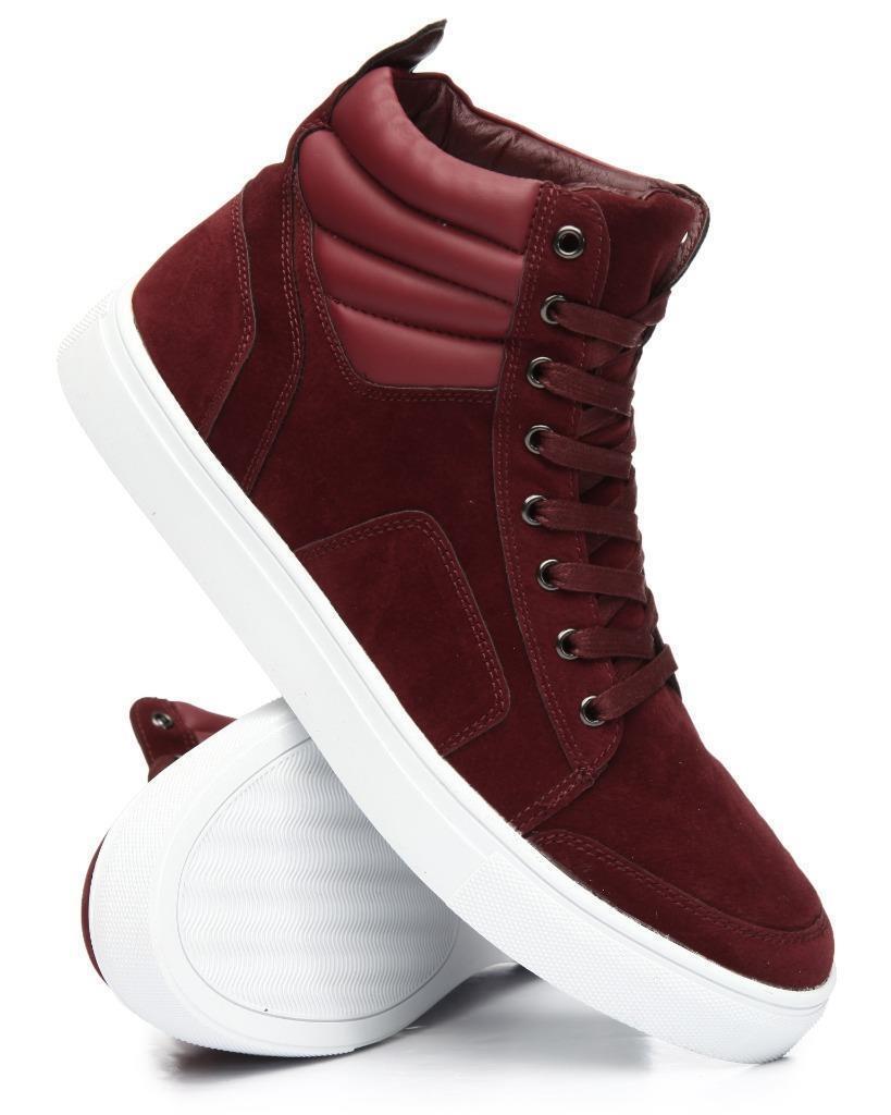 Tayno Karo Fashion Burgundy High Top Suede Feel Burgundy Fashion Sneakers 8.5,9,9.5,10.5,11,12,13 cfbc84