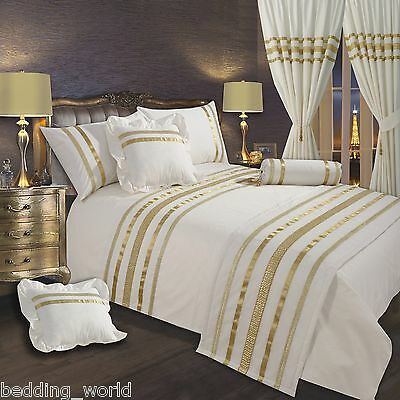 Off White Gold Ribbon 200 Thread Count, Luxury Cream And Gold Bedding