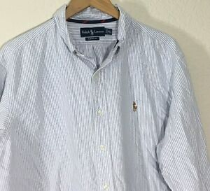 Ralph-Lauren-Classic-Fit-Long-Sleeve-Mens-Oxford-Shirt-Blue-White-Striped-Sz-XL