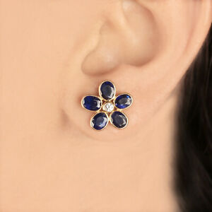 Real-4-55Ct-Blue-Sapphire-Gemstone-Floral-Shape-Diamond-Earrings-18k-Yellow-Gold