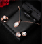 Fashion-Luxury-Women-Rose-Gold-Crystal-Necklace-Ring-Earring-Jewelry-Gift-Sets thumbnail 12