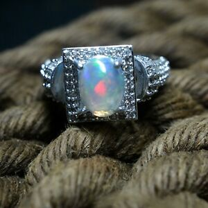 925 Sterling Silver Natural Fire Opal Oval Cabochon Amazing Designer Bridal Ring