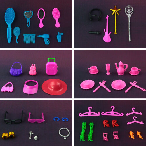 Bags,earphone, Necklace,Combs,Shoes, 50 pcs //lot  doll accessories for Barbie