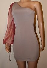 VICKY MARTIN nude beige peach one shoulder sleeve bodycon mini dress 8 10 BNWT