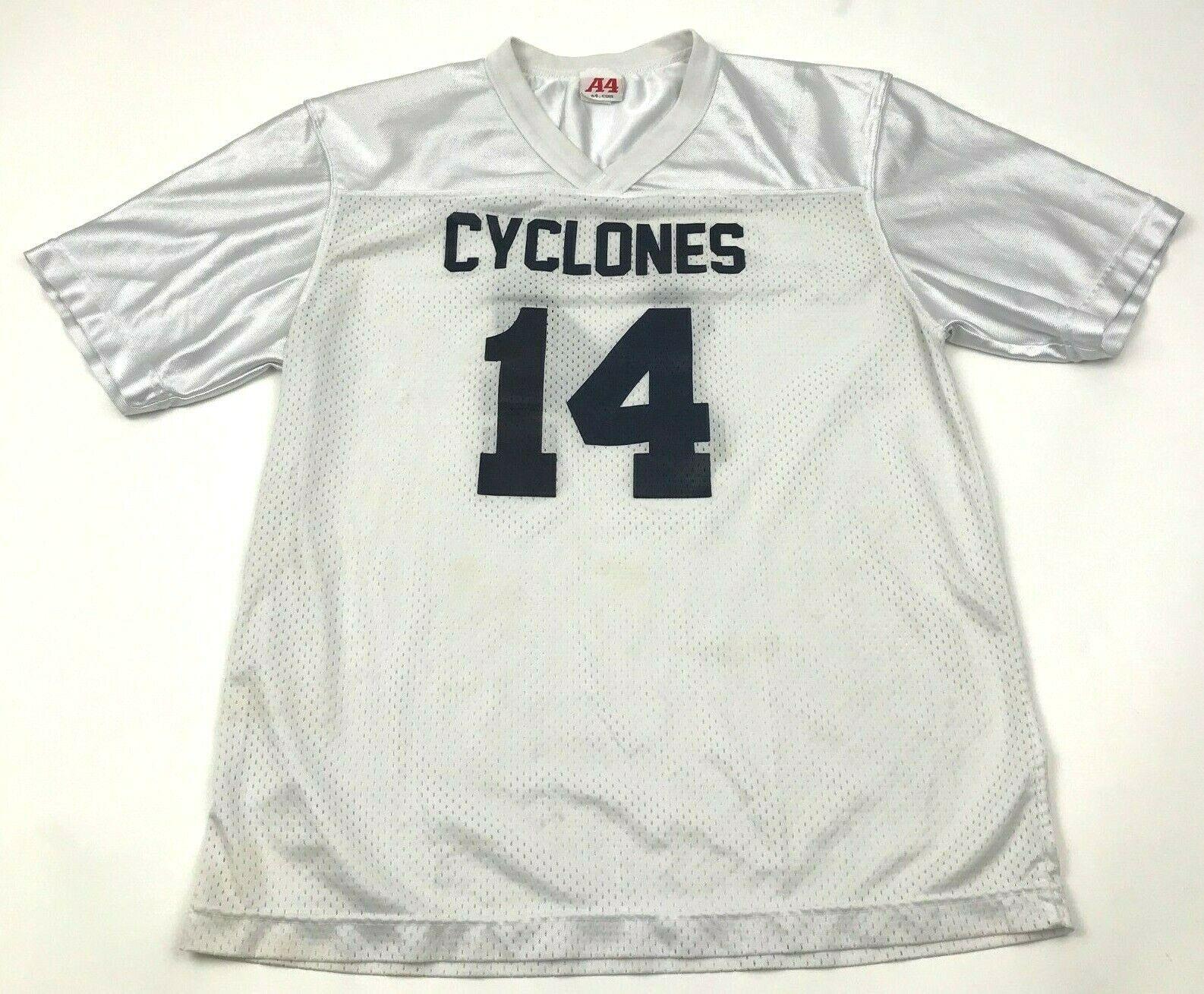 VINTAGE Cyclones Jersey Shirt Size Medium M White Blue Short Sleeve V-Neck 90's