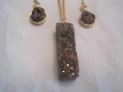 "Jewelry Sets Chocolate Brown Druzy Geode Pendant Set On 18"" Gold Necklace Set~lbdez Fashion Jewelry"