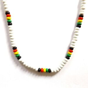 TURQUOISE RASTA REGGAE JAMAICAN SURFER BEACH STYLE BEADED NECKLACE WITH CLASP