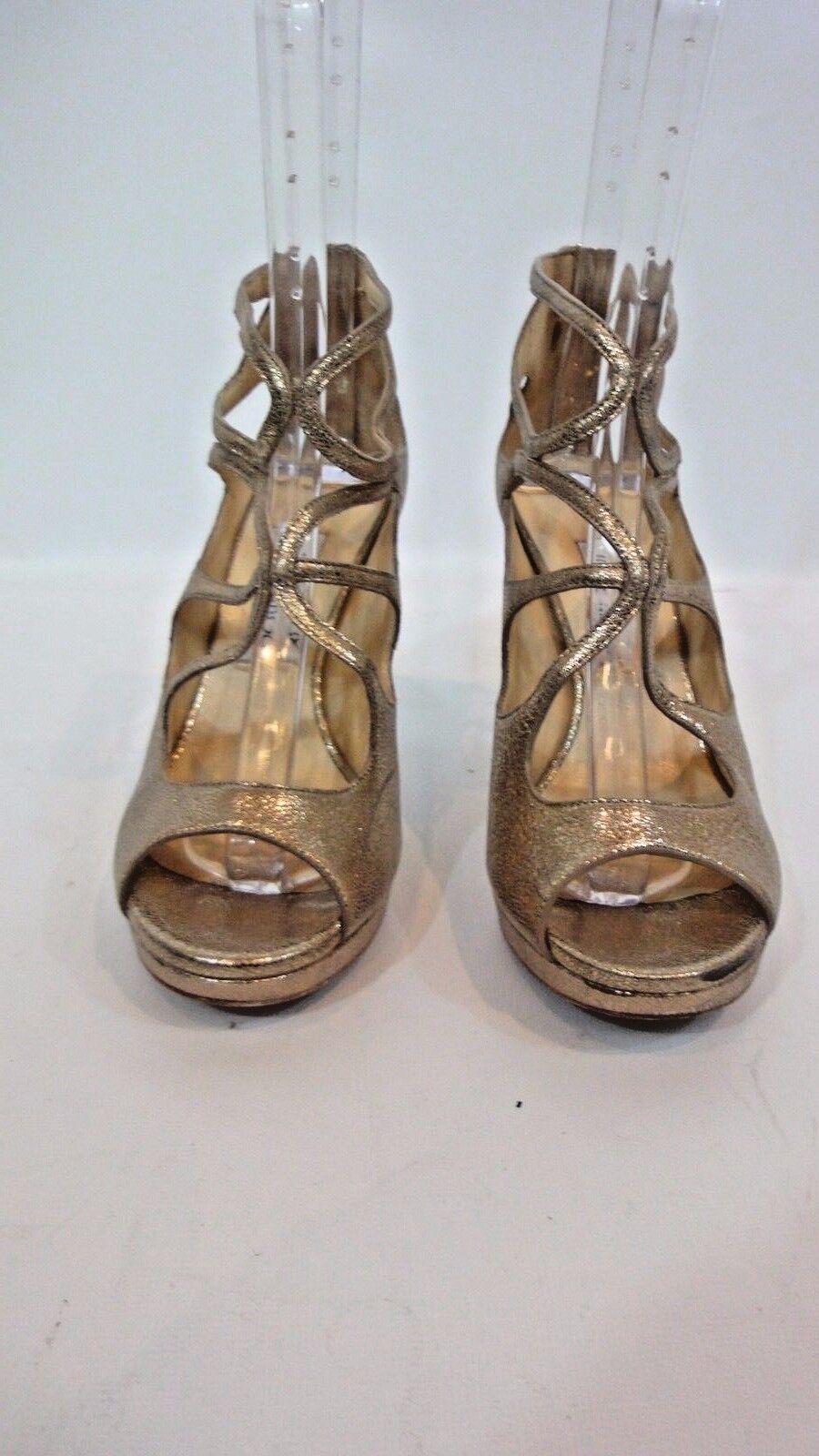 JIMMY CHOO Gold Snakeskin & Glitter Platform Heels Sz 38
