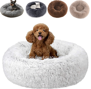 Pet-Dog-Cat-Calming-Bed-Comfy-Shag-Warm-Fluffy-Bed-Nest-Mattress-Fur-Donut-Pad