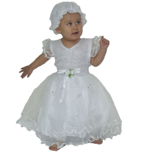 New Baby Christening Party Dress with Bonnet 0-3 3-6 6-9 9-12 Months in 6 Colour