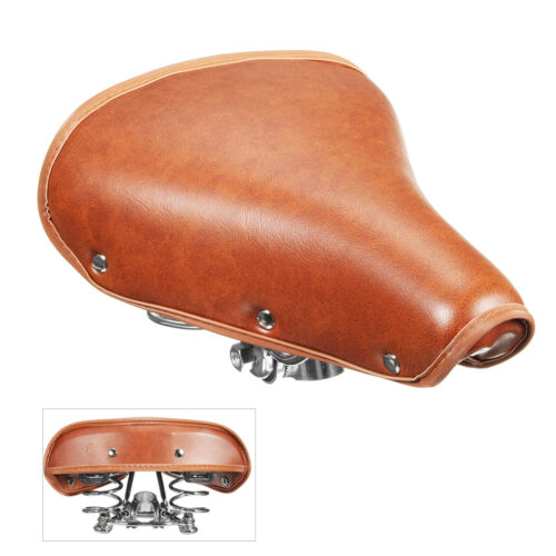 Vintage Retro Bicycle Bike Cycle Genuine Leather Saddle Seat Spring Comfort Seat