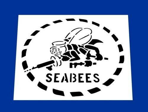 """USN UNITED STATES NAVY SEABEES STENCIL  *FREE USA S/&H* 7/"""" x 7/"""" Inches"""