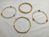 4 Sterling Silver & Gold Plated Bracelets Italian Design Gemstone Bangles