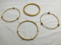4 Sterling Silver & Gold Plated Bracelets Italian Design Gemstone Bangles