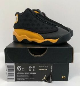 the best attitude 61b1a 28d63 Details about Nike Air Jordan 13 XIII Retro TD Melo Carmelo Toddler size 6C  Black Yellow