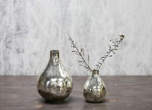 Image Is Loading 1 Antique Silver Mercury Gl Vase Vintage Shabby