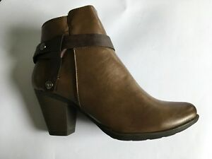4d3a1526429 Details about Womens Heavenly Feet Mango Ankle Boots Brown Cowboy Block  Heels Zip Faux Leather