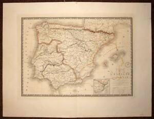 Carte Geographique Ancienne Antic Old Map L'espagne Antique Spane Par Brue 1838