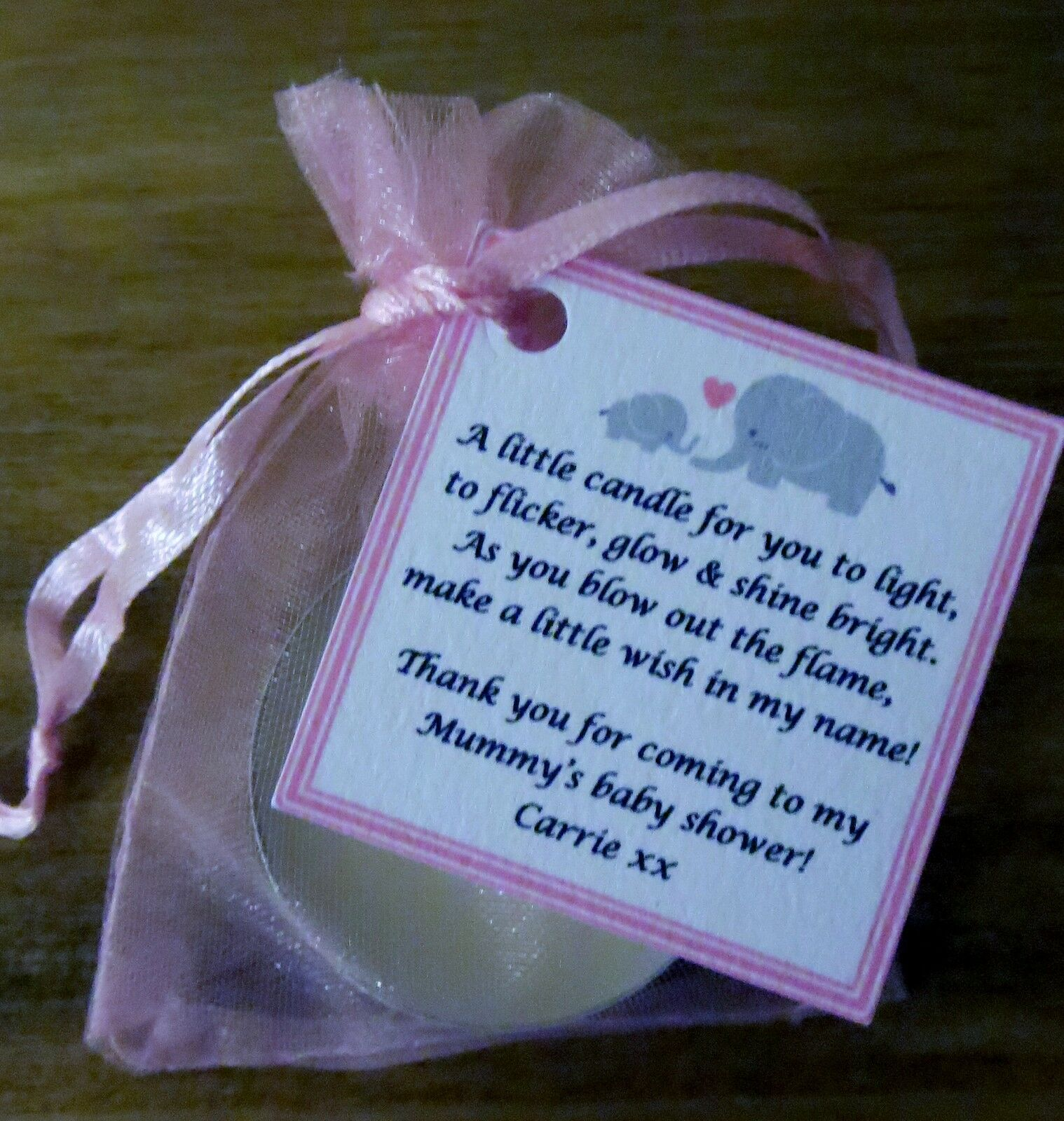 1-60 BABY SHOWER FAVOURS WITH VANILLA CANDLE Can be personalised