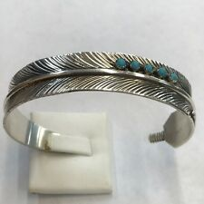 Native American Navajo Sterling Silver Feather Cuff Bracelet With Turquoise .