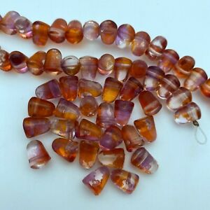 pack of 8 Transparent Orange Tire Czech Pressed Glass Beads 16mm