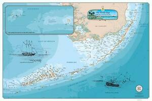 image regarding Printable Map of Florida Keys titled Information pertaining to Laminated Unique Florida Keys Chart - Nautical Artwork Print Map