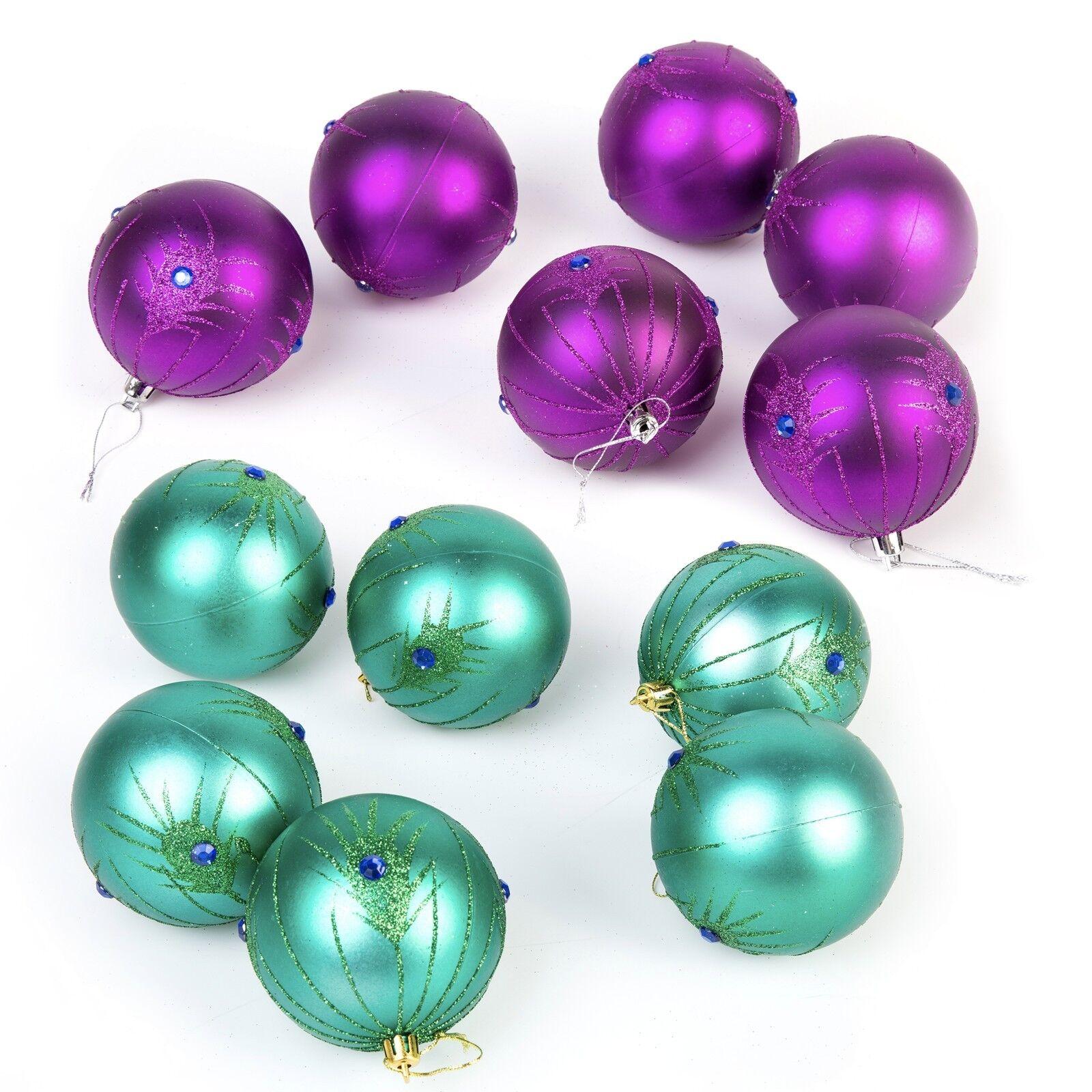 12 Pc Conjunto de Decoración de Navidad Árbol Bolas De Lujo-Pavo Real Púrpura Turquesa